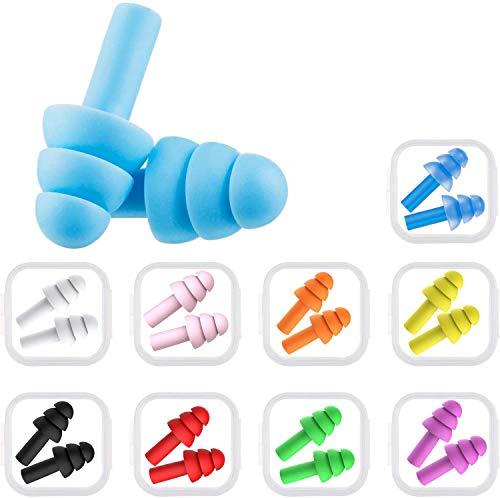 10 Paar Silikon-Ohrstöpsel für Schwimmer,Ohrstöpsel Schwimmen Erwachsene,Ohrstöpsel-Set,Ohrstöpsel Schlafen Gehörschutz,Ohrstöpsel zum Schlafen,Weiche Silikon Ohrstöpsel