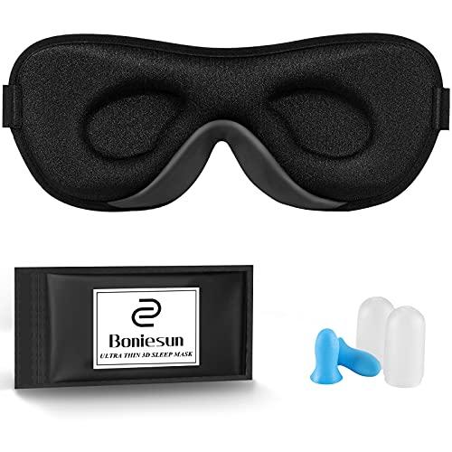 Boniesun Ultradünne Schlafmaske für Frauen & Männer, Schlafmaske für Seitenschläfer Verdunklungs-Augenmaske zum Schlafen Glatte Hautfreundliche Kühlende 3D Konturierte Schalen-Augenbinde