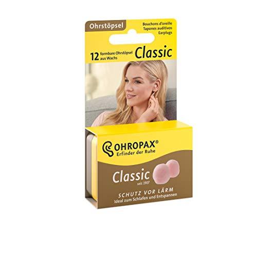 Ohropax Ohrstöpsel CLASSIC - Vor-Ohr-Stöpsel zum Schutz vor Lärm - Wachsohrstöpsel zum Entspannen und Schlafen und als Schutz vor Nässe und Wind - 12 Stück