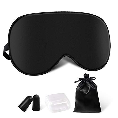 Schlafmaske Damen und Herren, Augenmaske Nachtmaske Seide Schlafbrille Verstellbarem Augenschutz für Reisen,Schichtarbeit und Nickerchen Schwarz Inklusive Ohrstöpsel Aufbewahrungstasche