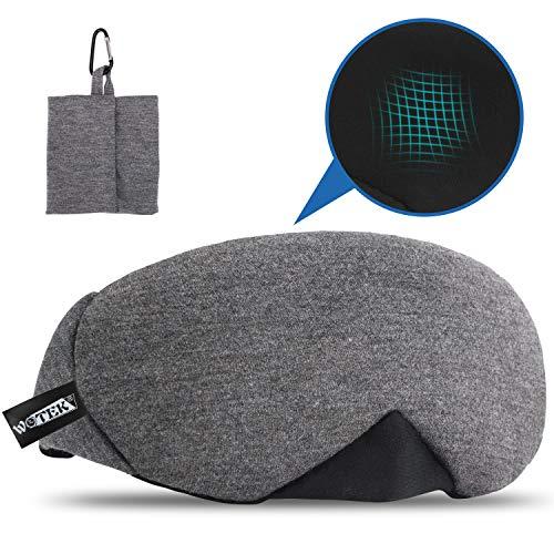 WOTEK schlafmaske, 100% Reine Baumwolle Einstellbare schlafbrille mit innovativ gewölbter Form, AtmungsaktiveAugenklappe verhindert alles Lichtt, super bequem für Reise/Nickerchen/Nachtschlaf
