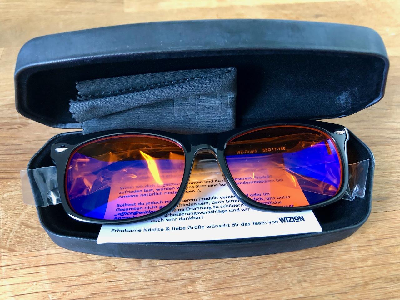 Wizion Blaulichtfilter Brille Etui geöffnet